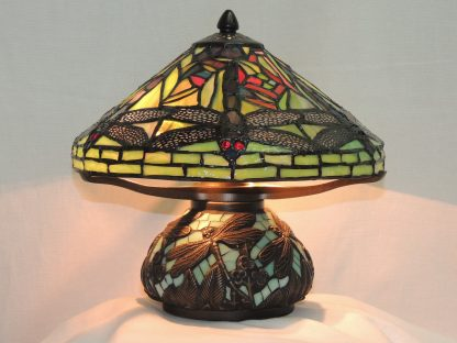 dragonfly hanging head tiffany style mini memory lamp 10.5 inches tall