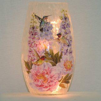 hummingbird rose lamp vase memorial gift