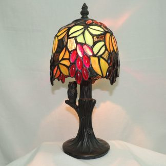 grape vine with owl tiffany style memory lamp