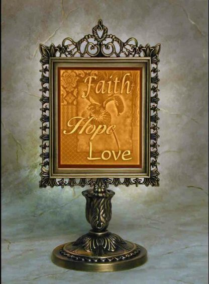 porcelain garden faith hope love lithograph memory lamp