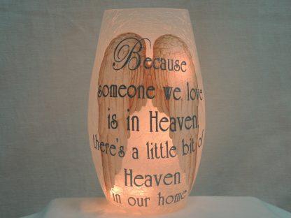 heaven angel wings silver vase memory lamp