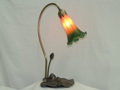 lily pond hand blown remembrance lamp with antique brass base