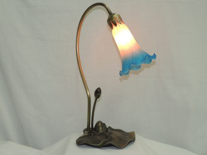 lily pond hand blown memory lamp with antique brass base