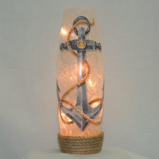 hand painted anchor lit vase tall