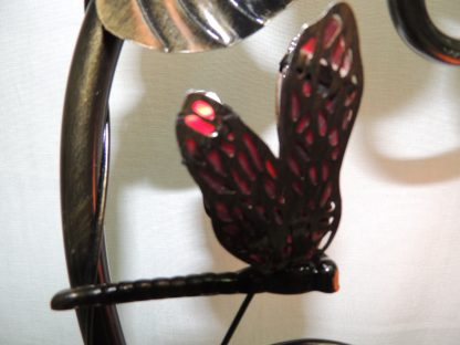 red butterfly tiffany style filigree wings closeup