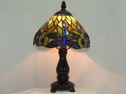 dragonfly stained glass accent lamp with filigree wings
