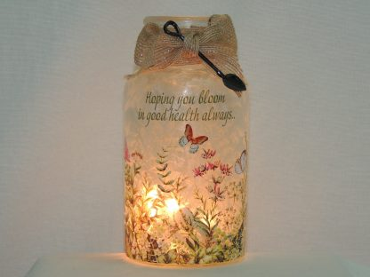 get well hand painted butterfly garden vase lamp