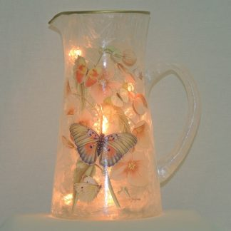 butterflies and flowers lamp pitcher