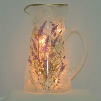 lavender butterfly hand painted water pitcher lamp
