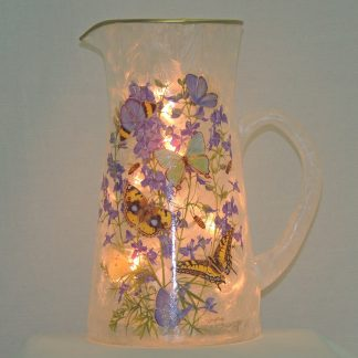 butterfly multi floral hand painted lamp pitcher