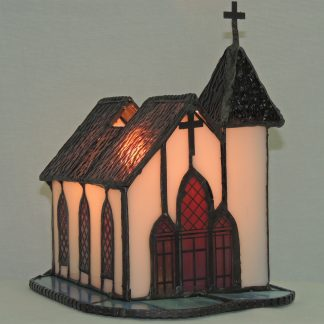 church stained glass accent lamp left side view