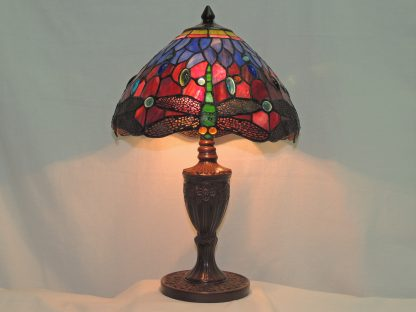 elegant dragonfly tiffany style table lamp with metal base gift of light
