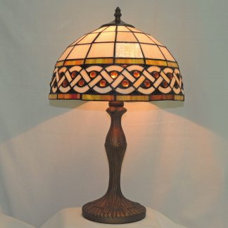 celtic amber gem table lamp with cabochons interwoven with a celtic knot